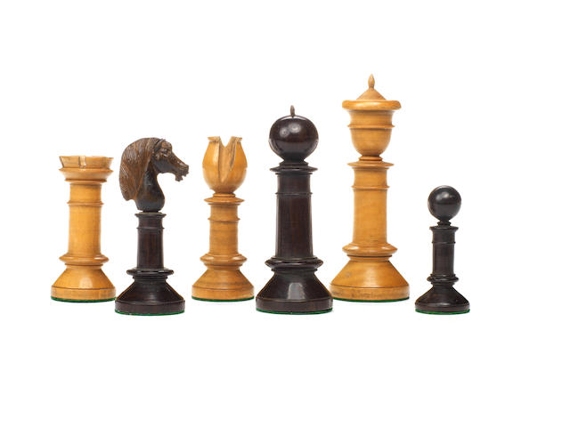 "An ""Edinburgh Upright"" rosewood and boxwood chess set, British Isles, circa 1850,"