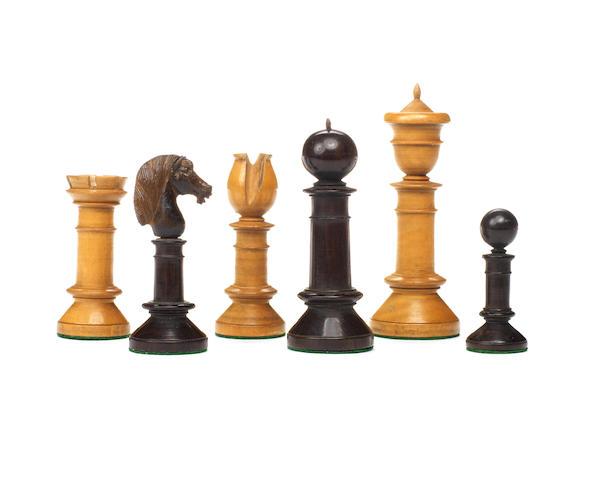 "An ""Edinburgh Upright"" rosewood and boxwood chess set, British Isles, circa 1850,"