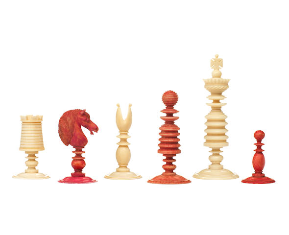 An ivory chess set, English, 19th century,