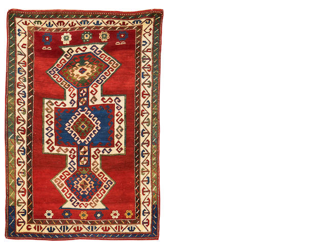 A Kazak rug, Central Caucasus, circa  6 ft 8 in x 4 ft 5 in (202 x 135 cm) one end completely rewoven, some repiling