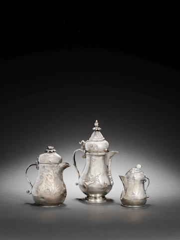 A group of three small engraved Ottoman silver Ewers Turkey, 19th Century3