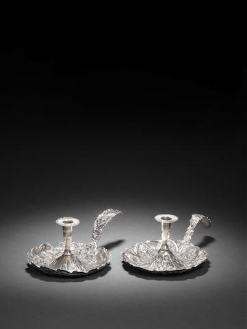 Two Ottoman repousse silver Candle Holders Turkey, 19th Century(2)
