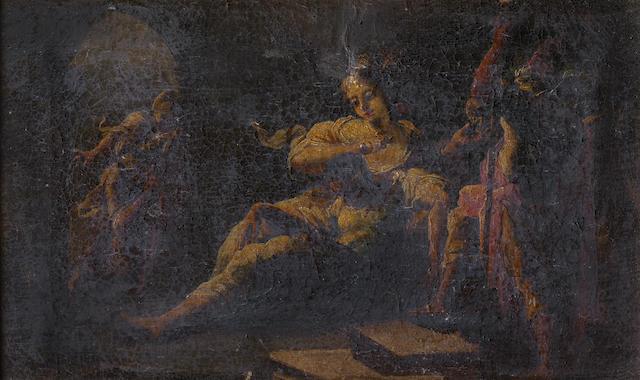 Attributed to Nicola Bertuzzi (Ancona circa 1710-1777) Tobias and the Fish; Samson and Delilah; and Samson   (3)