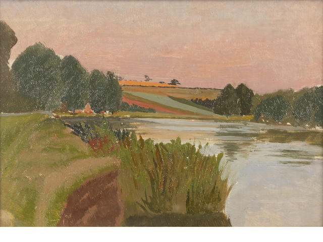 Sir Stanley Spencer R.A. (British, 1891-1959) Cookham Reach and Barley Hill 19.3 x 27.2 cm. (7 5/8 x 10 5/8 in.)