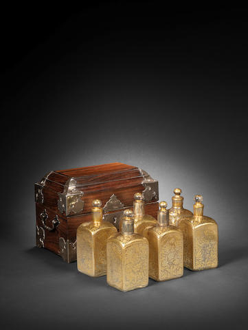 A group of six Mughal gilt glass Bottles  West India, 18th Century7