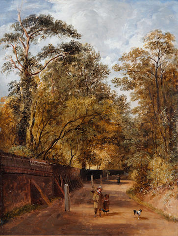 James Stark (British, 1794-1859) Children with a dog on a woodland road