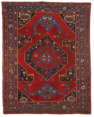 A Kazak rug, Central Caucasus, circa 1900, 7 ft 2 in x 6 ft 10 in (217 x 178 cm) low pile in places, minor restoration