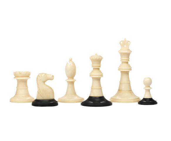 A turned ivory chess set, Anglo-Indian, circa 1890,