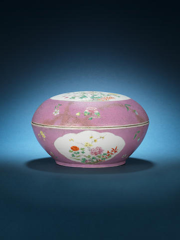 A famille rose pink ground circular box and cover Iron-red Hongxian four-character mark and probably of the period