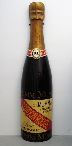 A hand-painted celebratory Champagne bottle,