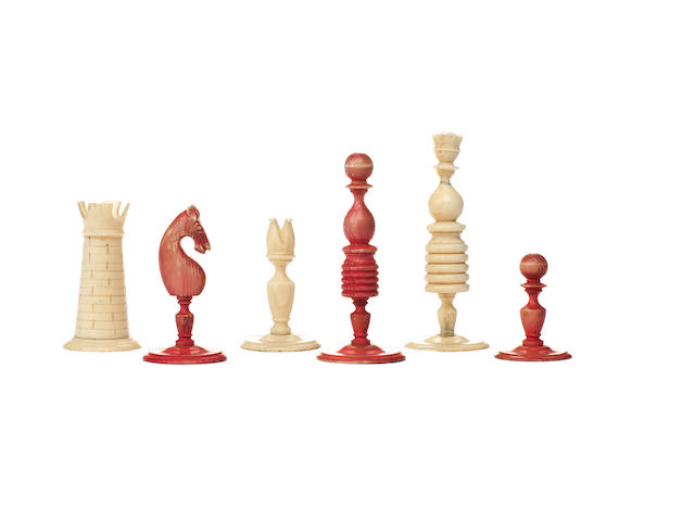 "A ""Washington Pattern"" ivory chess set, English, 18th century,"