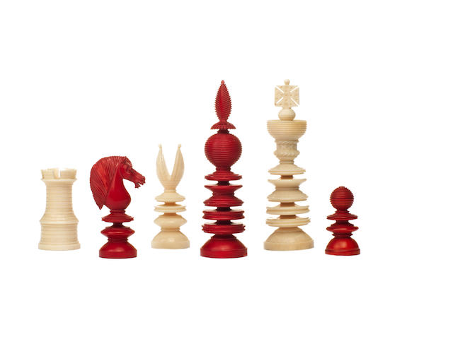 "A ""Lund Pattern"" ivory chess set, English, 19th century,"
