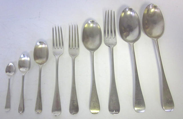 A quantity of Victorian silver Old English pattern flatware, by George Maudsley Jackson, London 1891,