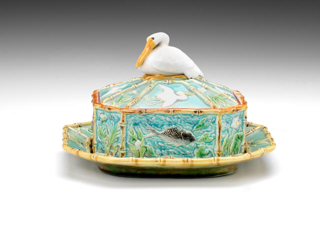 A George Jones Majolica sardine box, cover and stand, circa 1875