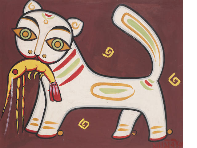Jamini Roy (India, 1887-1972) Cat and Prawn, tempera on card, signed lower right, framed,