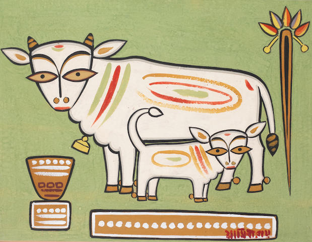 Jamini Roy (India, 1887-1972) Cow and Calf, tempera on card, signed in Bengali lower right, framed,