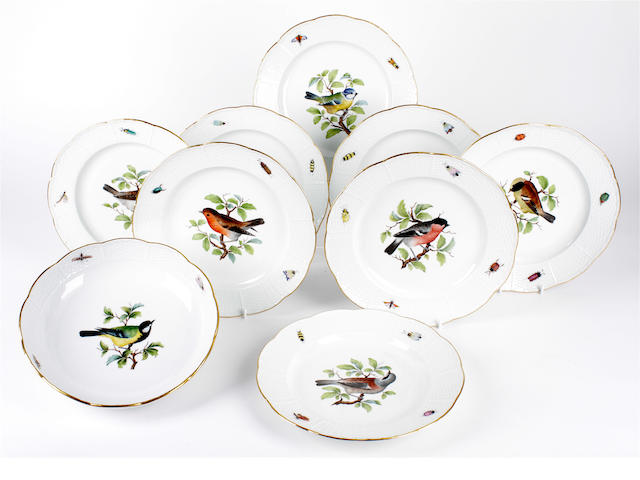 A set of eight Meissen ornithological plates and a bowl, late 19th century