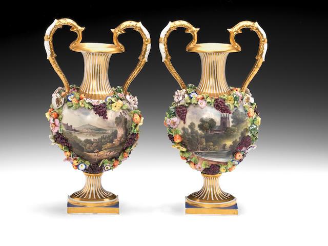 A pair of Bloor Derby vases, circa 1835-40