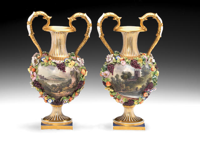 A pair of Bloor Derby vases, circa 1835-40