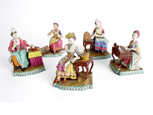 A set of five Meissen biscuit figures emblematic of the senses, first half of 19th century