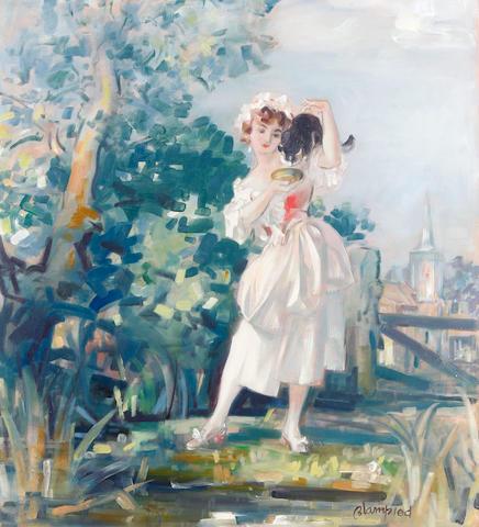 Edmund Blampied (British, 1886-1966) Jersey Milkmaid