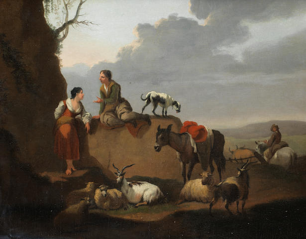 Michel Duplessis (Versailles 1770-1799) A drover and his cattle fording a river; and A shepherd and shepherdess 29 x 35.5cm (11 7/16 x 14in) and 29.5 x 36.7cm (11 5/8 x 14 7/16in). (2)