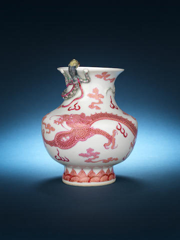 An unusual famille rose 'dragon' vase 19th century, six-character mark xxx