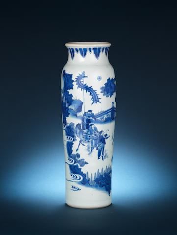 A blue and white cylindrical vase, rolwagen Mid 17th century