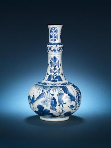 A blue and white globular long-necked vase Mid 17th century