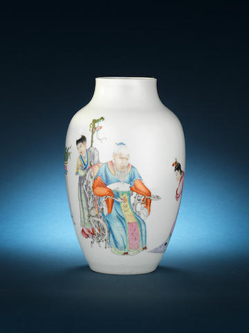 A famille rose baluster vase Republic Period, blue enamel Qianlong four-character mark