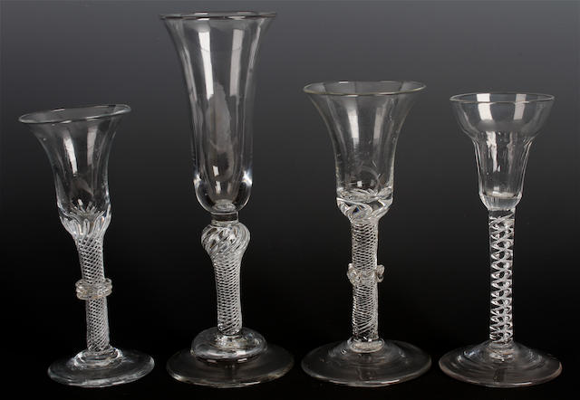 Four airtwist glasses, circa 1760