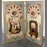 A decorative two fold screen in the rococco manner, painted with scenes within an arbour 18th/19th Century