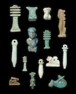 A large group of Egyptian glazed composition amulets a lot