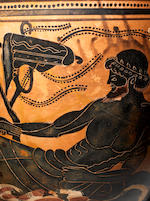 A large Attic black-figure skyphos