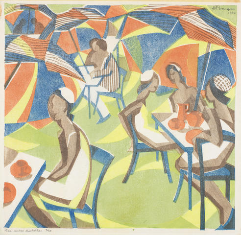 William Greengrass (British, 1896-1970) Tea under Umbrellas Linocut printed in colours, 1934, the colours bright and fresh, on Japan, signed and dated in pencil upper right, titled and numbered 4/50 in pencil lower left, with margins 250 x 257mm (9 7/8 x 10in) (B) (unframed)