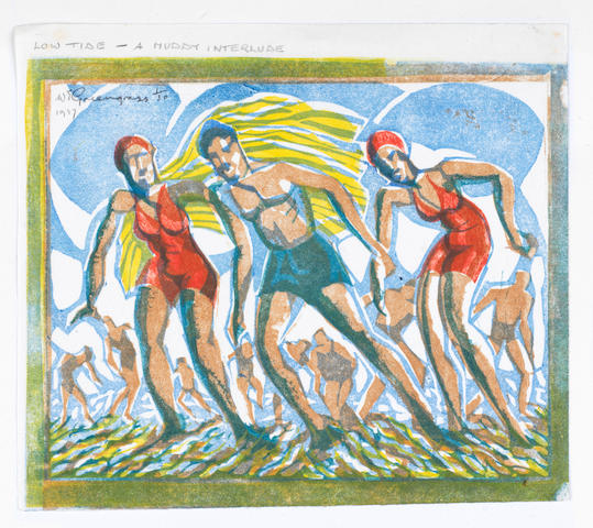 William Greengrass (British, 1896-1970) Bathers Linocut, c1930, printed in colours, on japan, signed in pencil