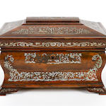 An early Victorian rosewood and mother-of-pearl sewing box