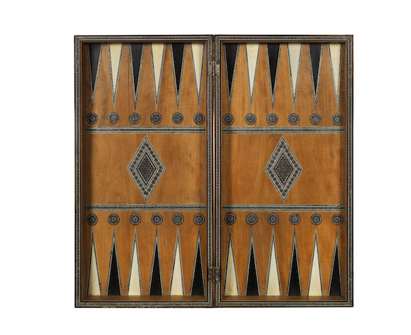 A Sedeli-work games box for chess and backgammon,  Indian, 19th century,