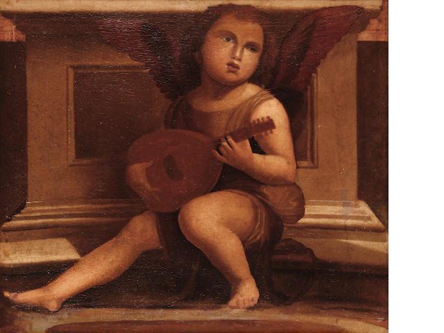 Manner of Giovanni Bellini, circa 1900 Putto playing an instrument