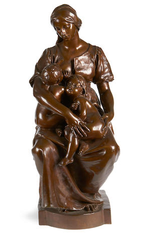 Paul Dubois, French (1829-1905) A large bronze figural group of La Charitécast by Barbedienne