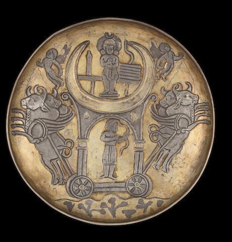 A Sassanian parcel gilt silver dish