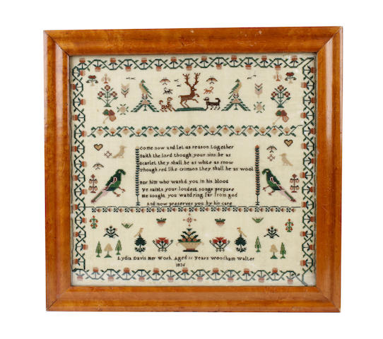A William IV sampler and woolwork picture