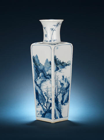 A rare blue and white square baluster vase Kangxi six-character mark and of the period
