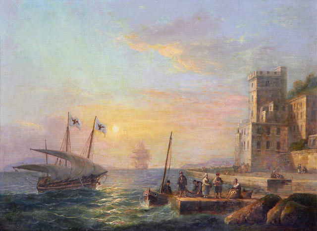 Thomas Luny (British, 1759-1837) Ships returning to port