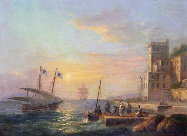Thomas Luny (British, 1759-1837) Ships returning to port
