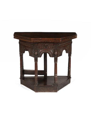 A Charles I oak credence style table, Salisbury
