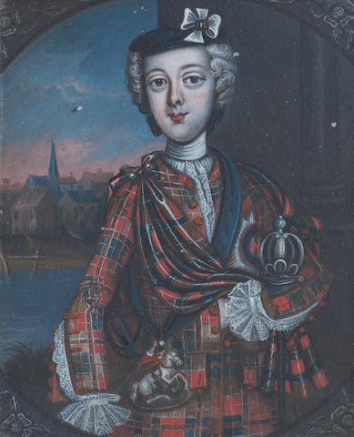A mid 18th century portrait of Bonnie Prince Charlie, Scottish School