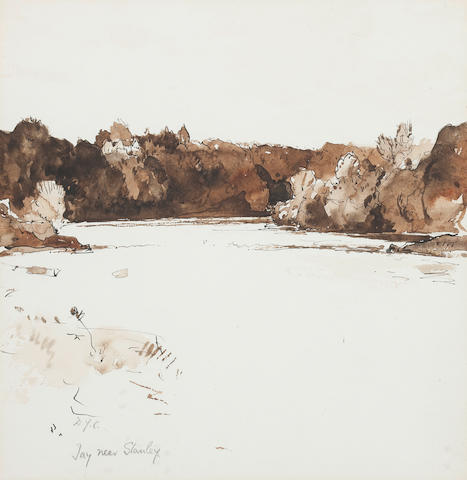 Sir David Young Cameron, RA RSA RWS RSW RE (British, 1865-1945) Tay near Stanley 24.5 x 24cm