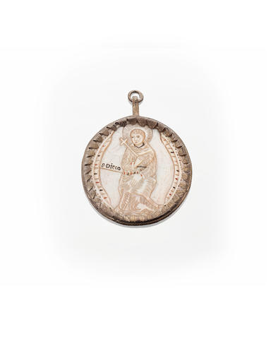 A 19th century Spanish or Portuguese mother of pearl medallion
