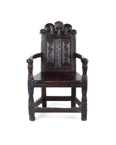 A 17th century Scottish oak and pine caqueteuse armchair Possibly from Fife